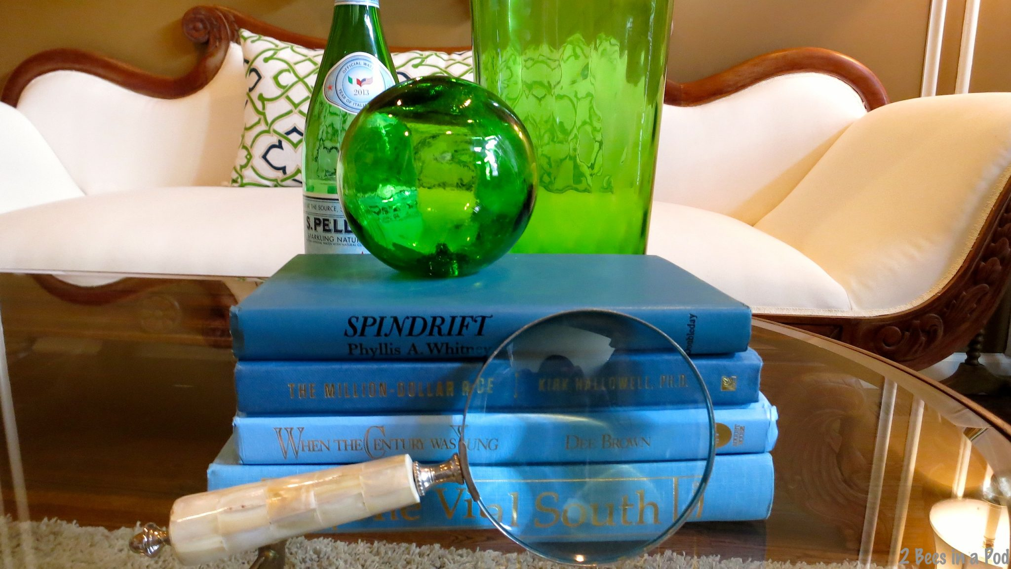 Blue and green books