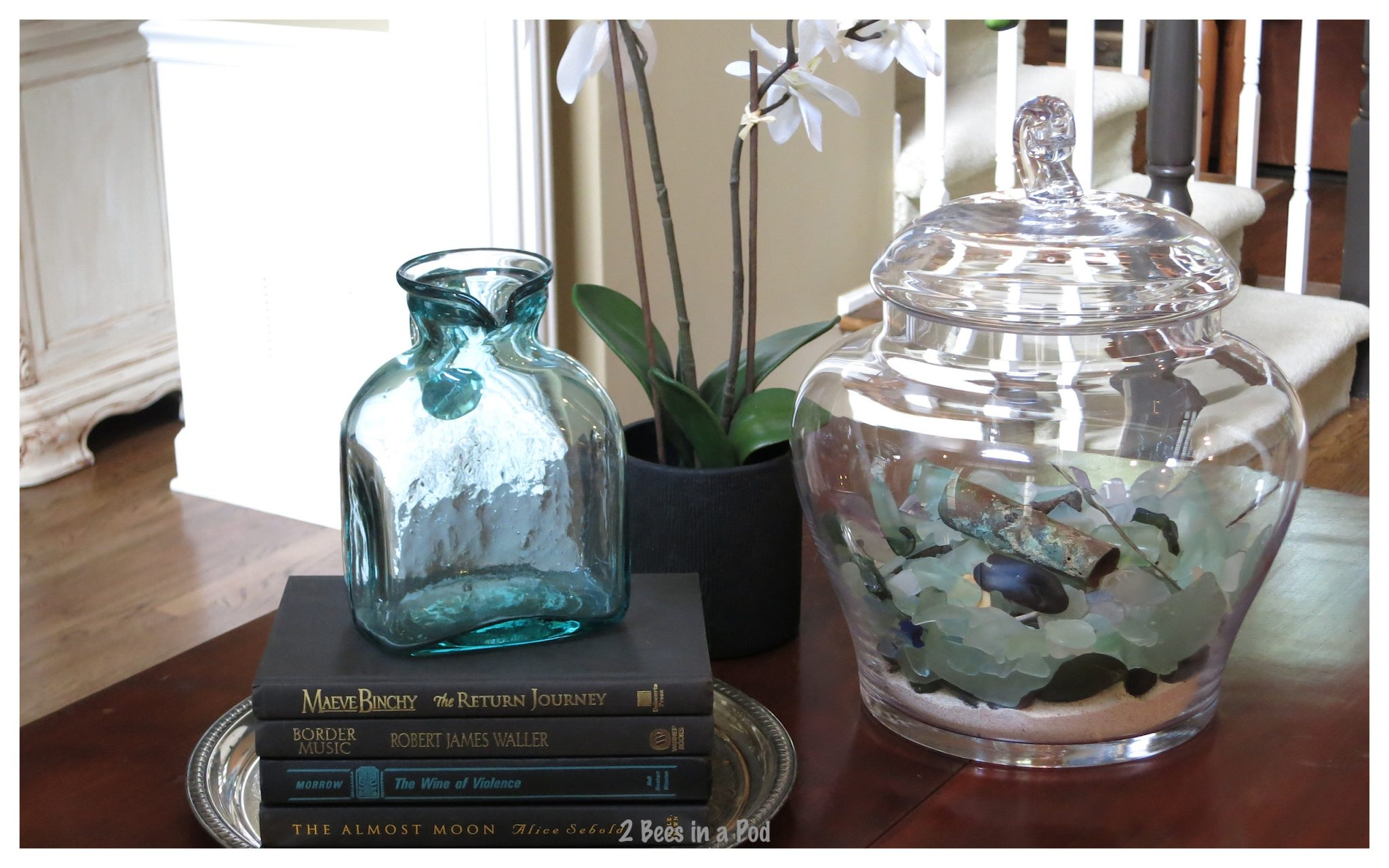 Black books paired with turquoise