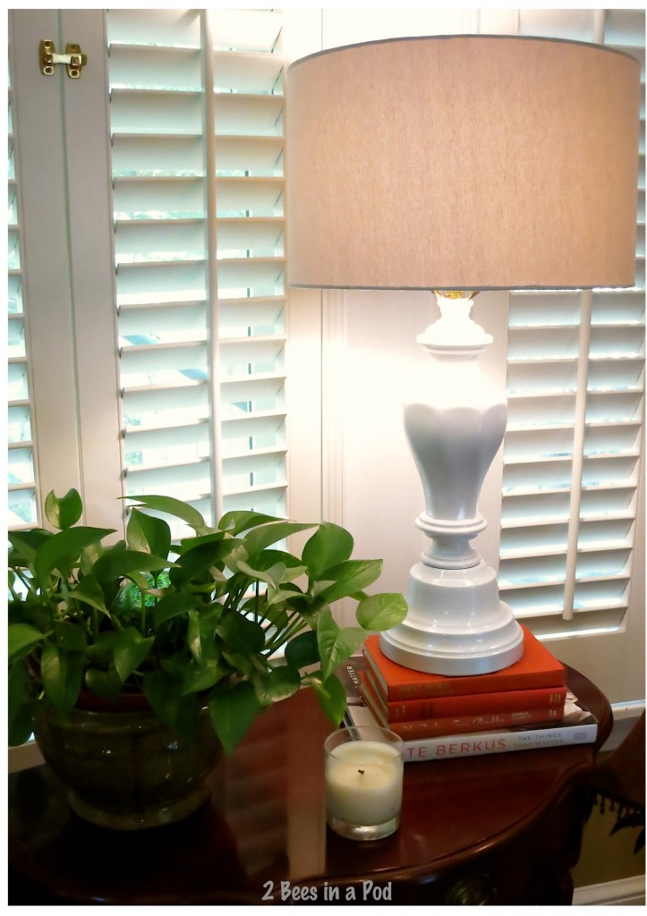 This lamp used to be ugly and very shiny brass - simple makeover to a beauty