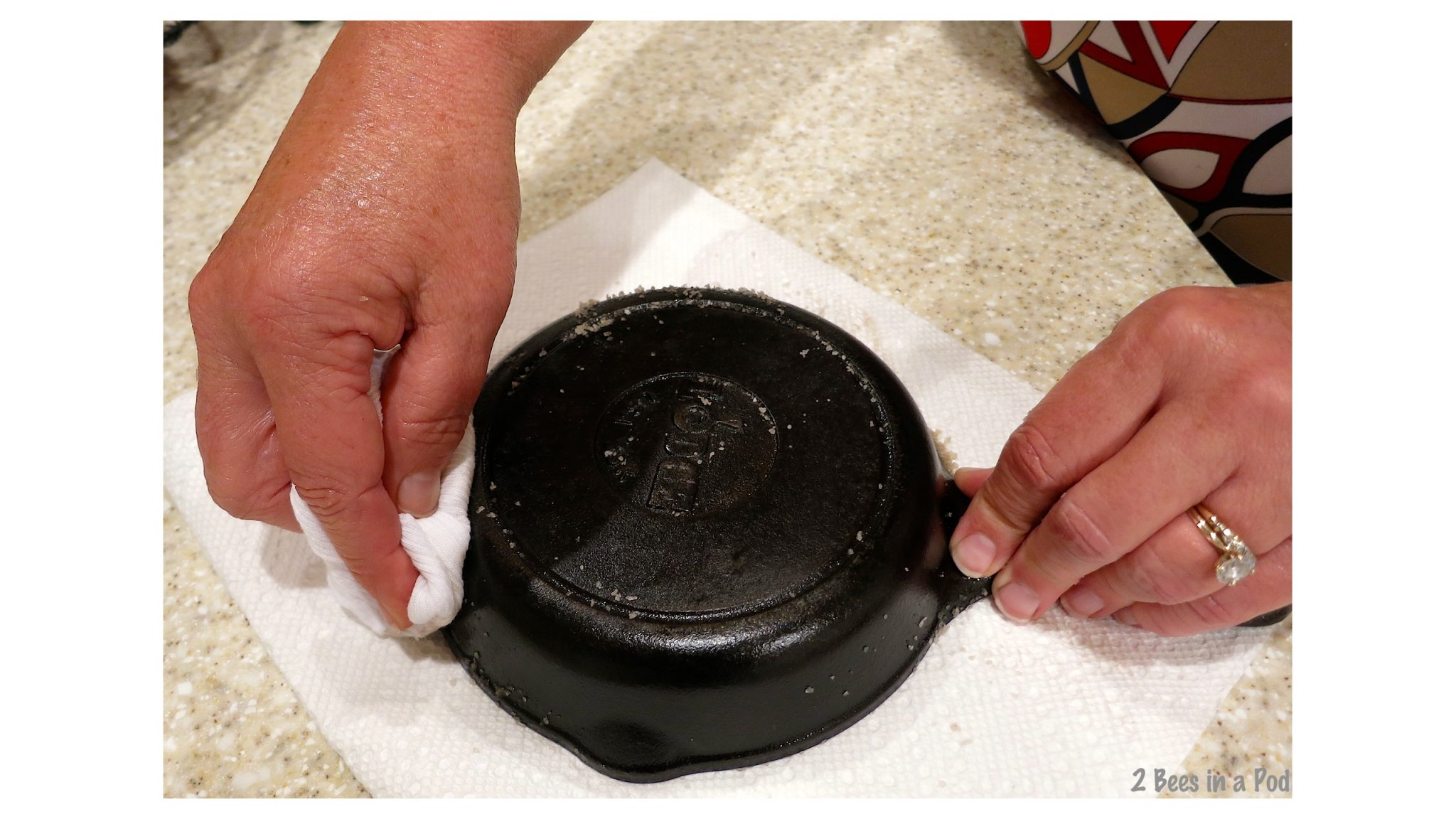 Wipe off excess oil and sea salt when reviving cast iron