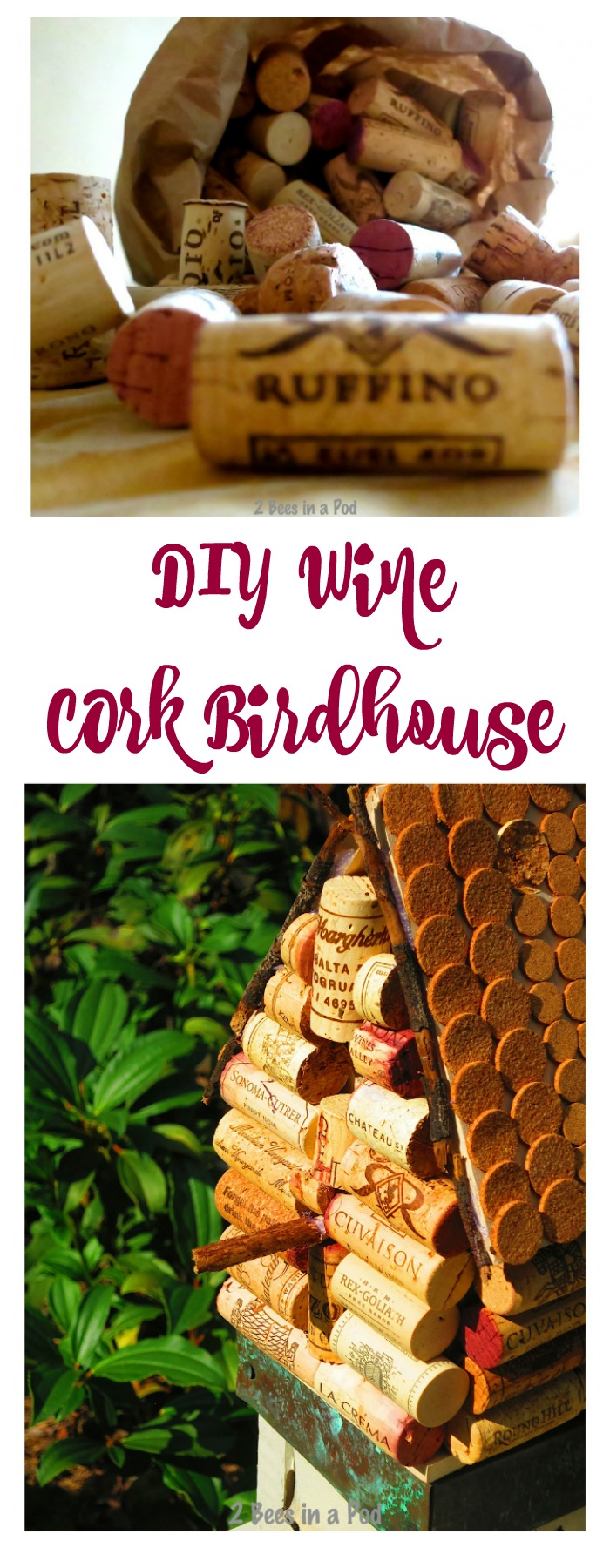 Wine Cork Birdhouse is such an easy DIY craft. Use your leftover wine corks to make your own.