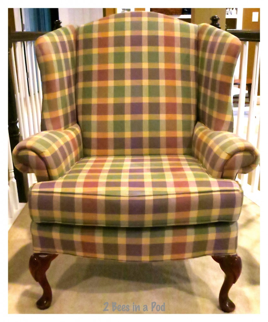 Before the wing chair fabric was painted