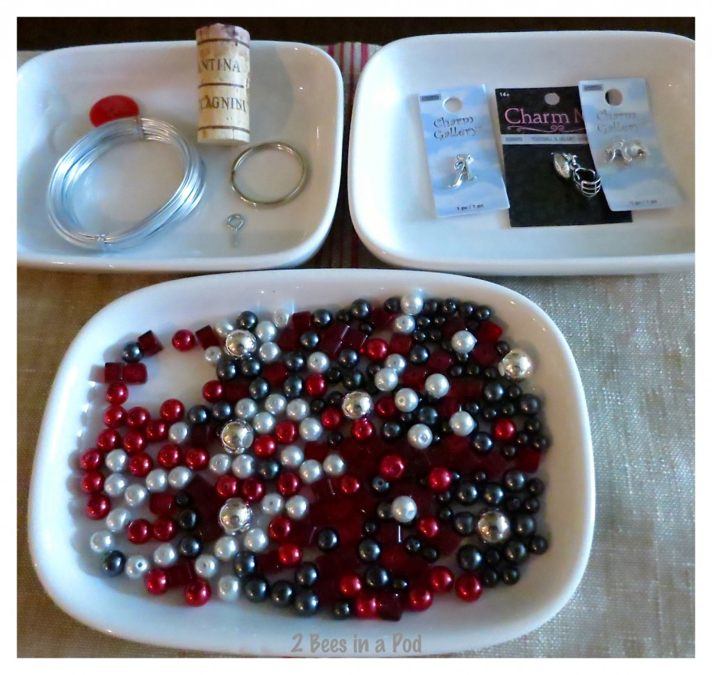 Everything you need to make a wine bottle charm for a tailgate party