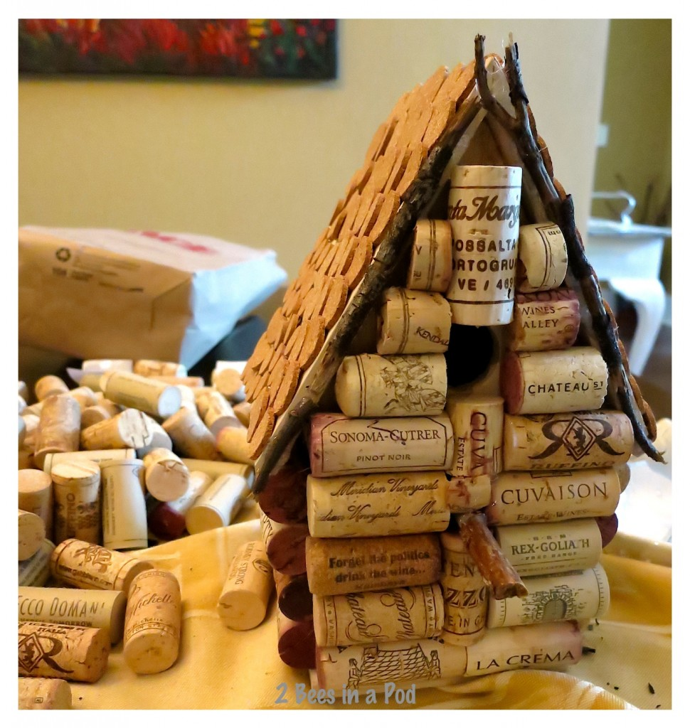 You will need to keep cutting the wine corks until the fit just right on the birdhouse. The pitch of the roof can be a little tricky.