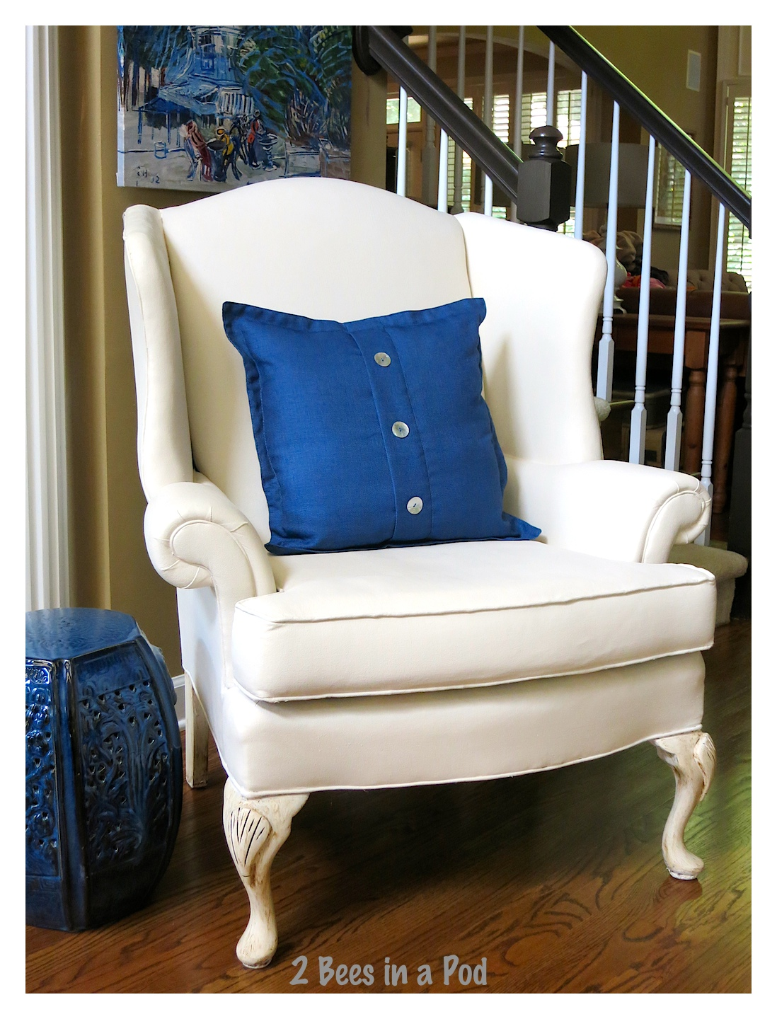painted wing chair it worked 2 bees in a pod. Black Bedroom Furniture Sets. Home Design Ideas