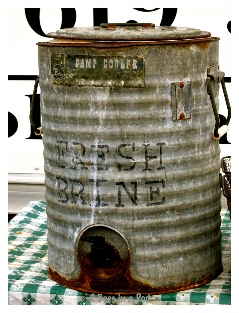 Vintage brine bucket for fresh pickles by Olive My Pickle at the St. Augustine Beach farmers market