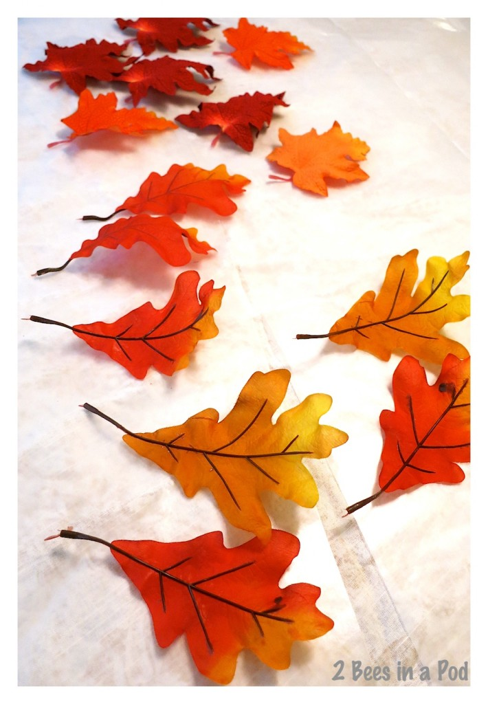 Silk Fall leaves ready for plaster coating