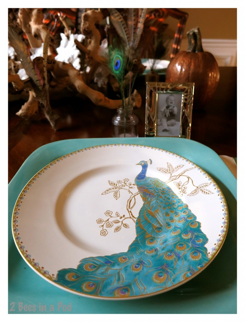 I love this turquoise peacock pattern china. It perfectly matched my large square plates. A great combination and colorful Fall tablescape.