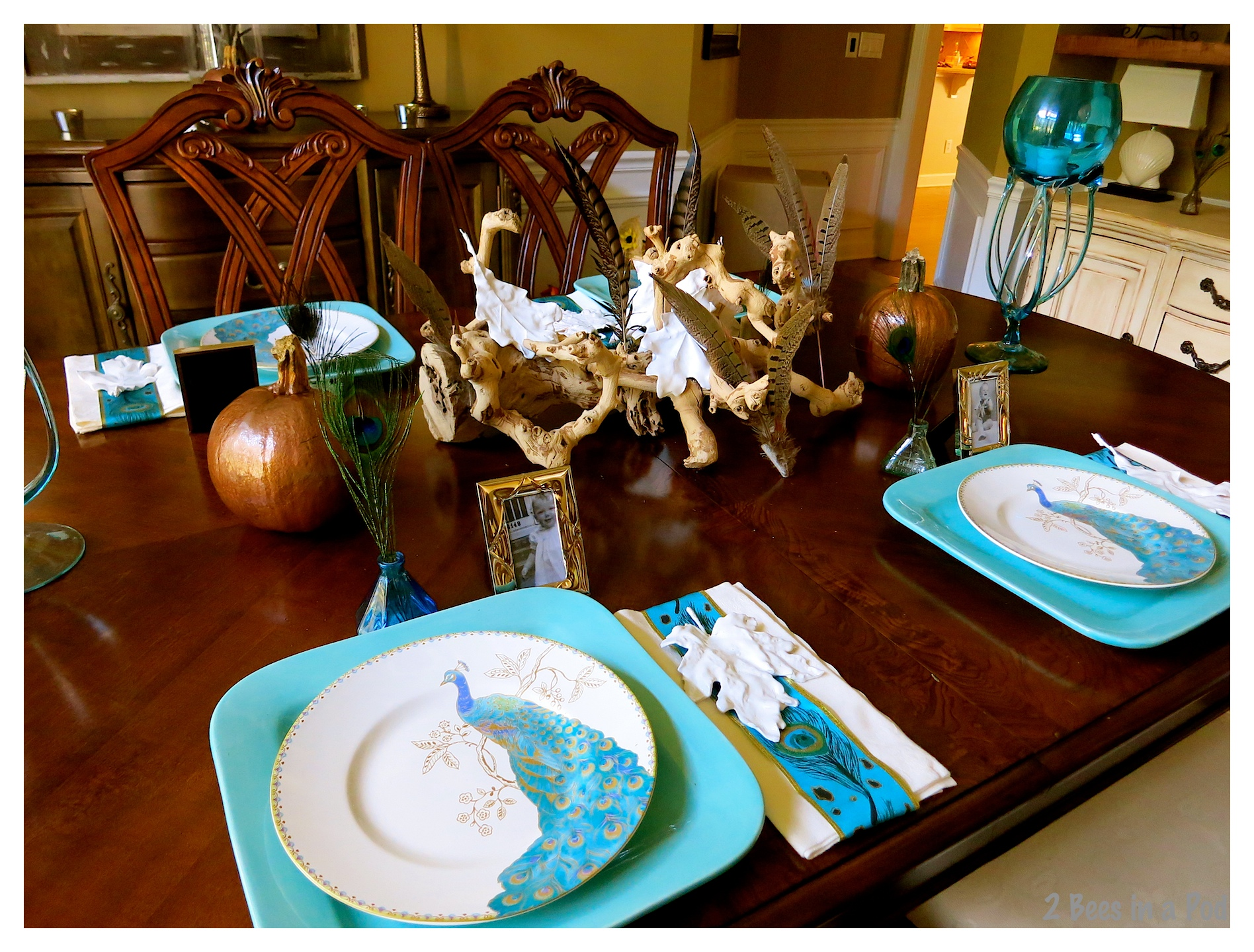 Fall Tablescape with a Touch of Turquoise and Copper
