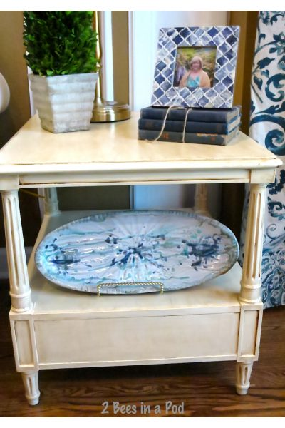 What does that sticker say? – Painted End Table