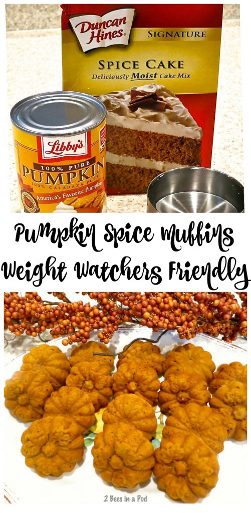 Pumpkin Spice Muffins - Weight Watcher Friendly. Only a couple of ingredients for these moist, delicious muffins.