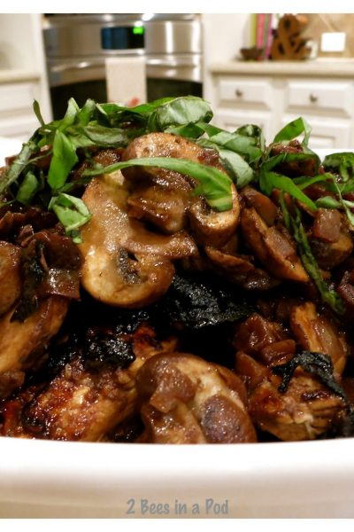 Jennifer and I are doing the Weight Watchers Program and when I saw this Balsamic Chicken with Mushrooms recipe, I knew it would be perfect for dinner