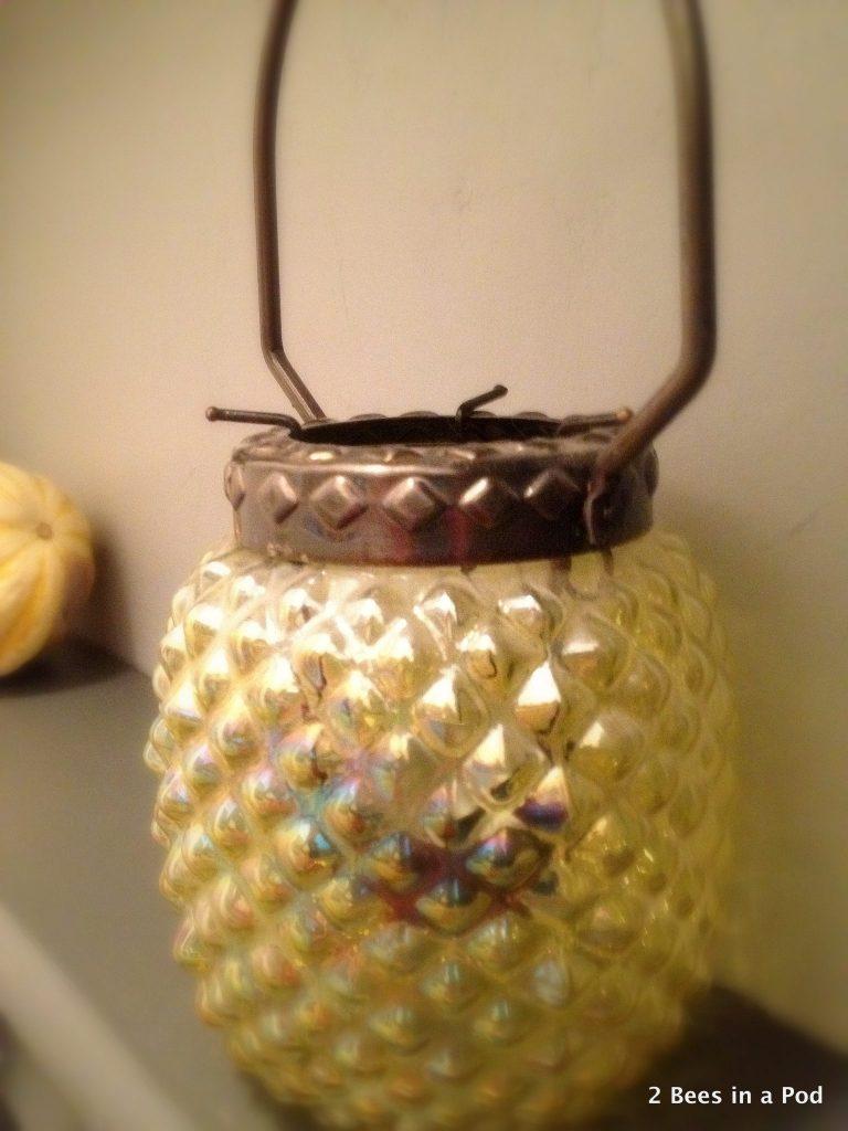 Yellow & Metallic Lantern...vintage feel