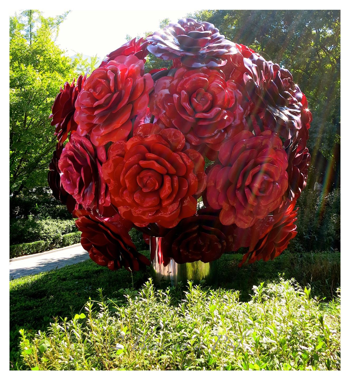 Modern, colorful art rose sculpture in Seoul, South Korea