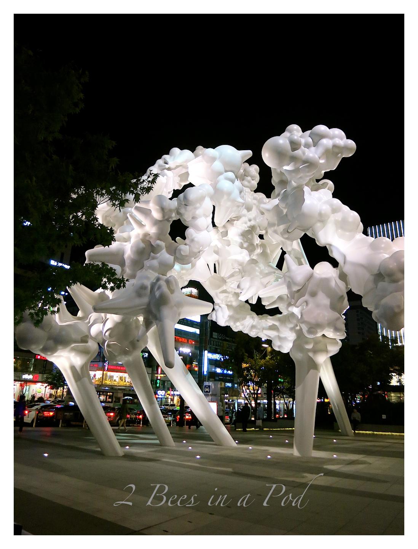 Modern white art sculpture in Jeonong, South Korea
