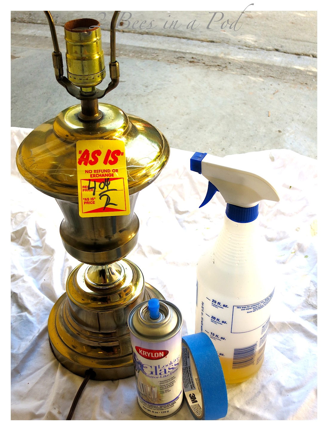 old brass lamp and turn it into a diy mercury glass lamp spray paint. Black Bedroom Furniture Sets. Home Design Ideas