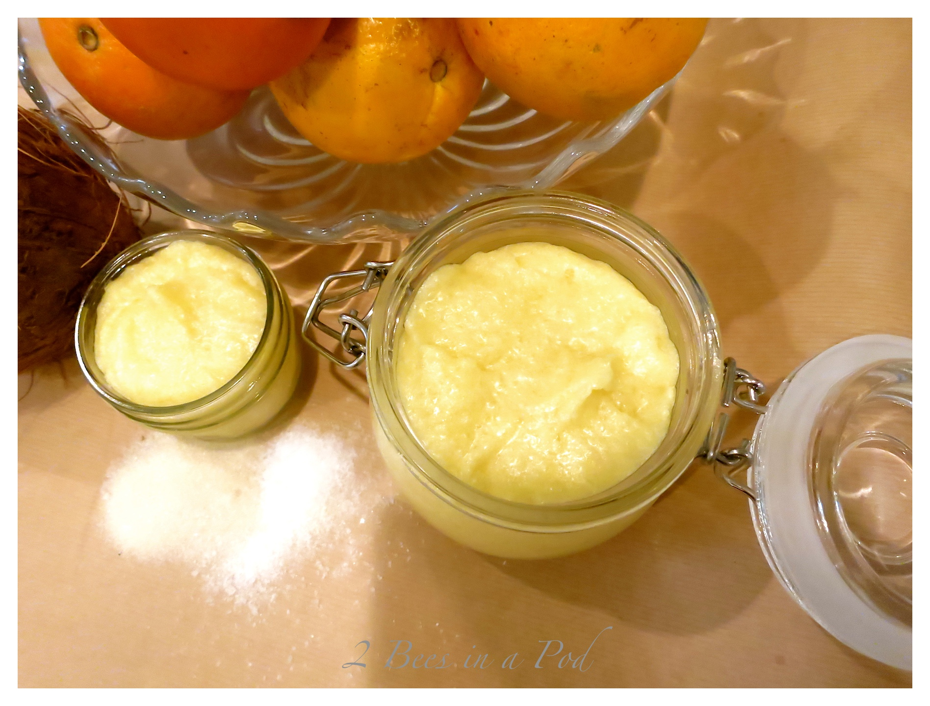 Homemade Coconut Orange Sugar Scrub... great for dry skin this Fall and Winter