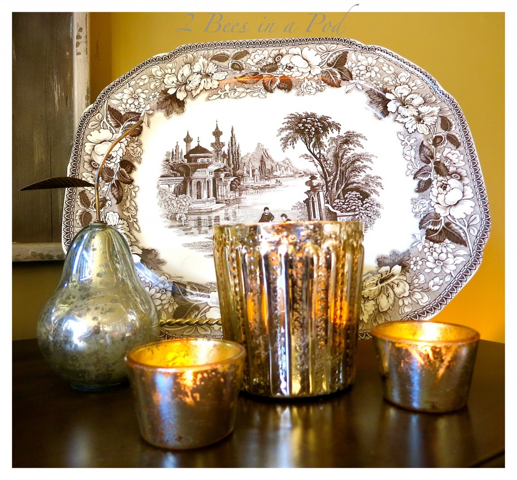 IDIY Mercury Glass... Painted clear glass votives and a jar create an aged-vintage look. Love the crackle finish.