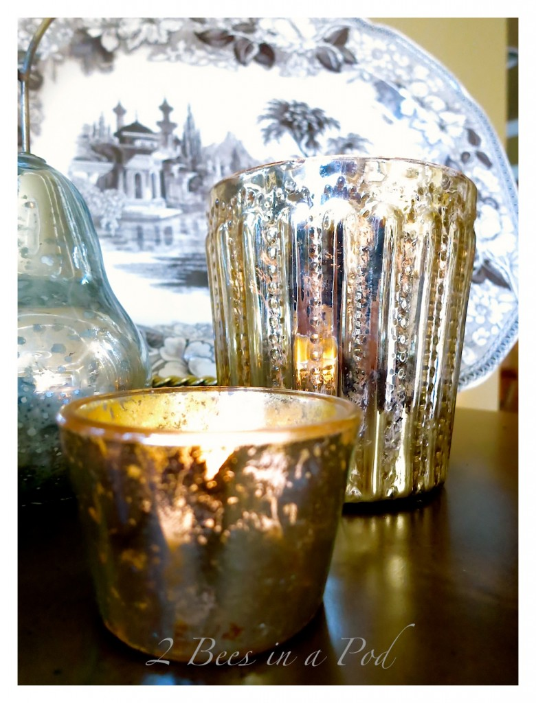 DIY Mercury Glass... Painted clear glass votives and a jar create an aged-vintage look. Love the crackle finish.