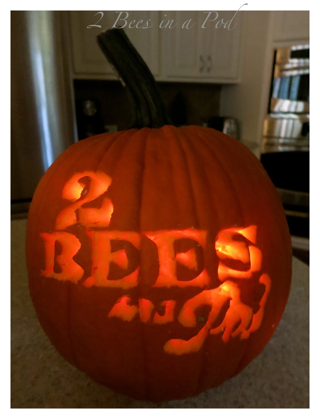 My honey bee surprised me and carved our logo into a pumpkin...so Happy. Great job!!!