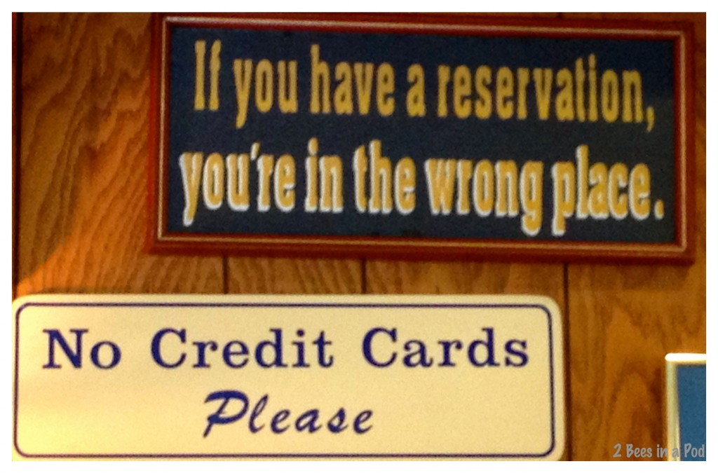 Funny sign in Osteen's Restaurant - St. Augustine, FL