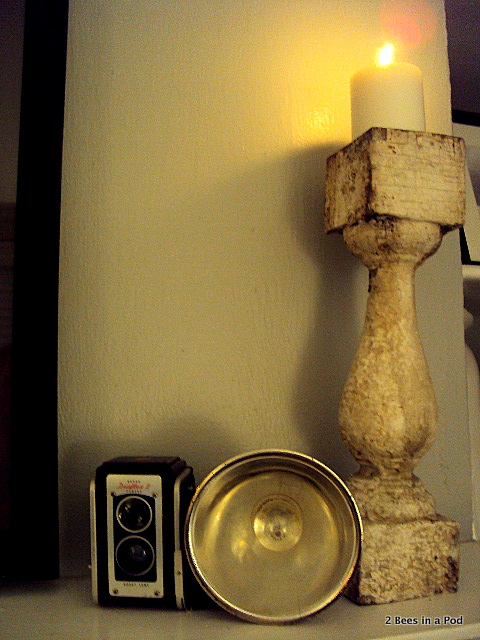 I used the balusters as candle holders on my mantle and kept them looking shabby chic