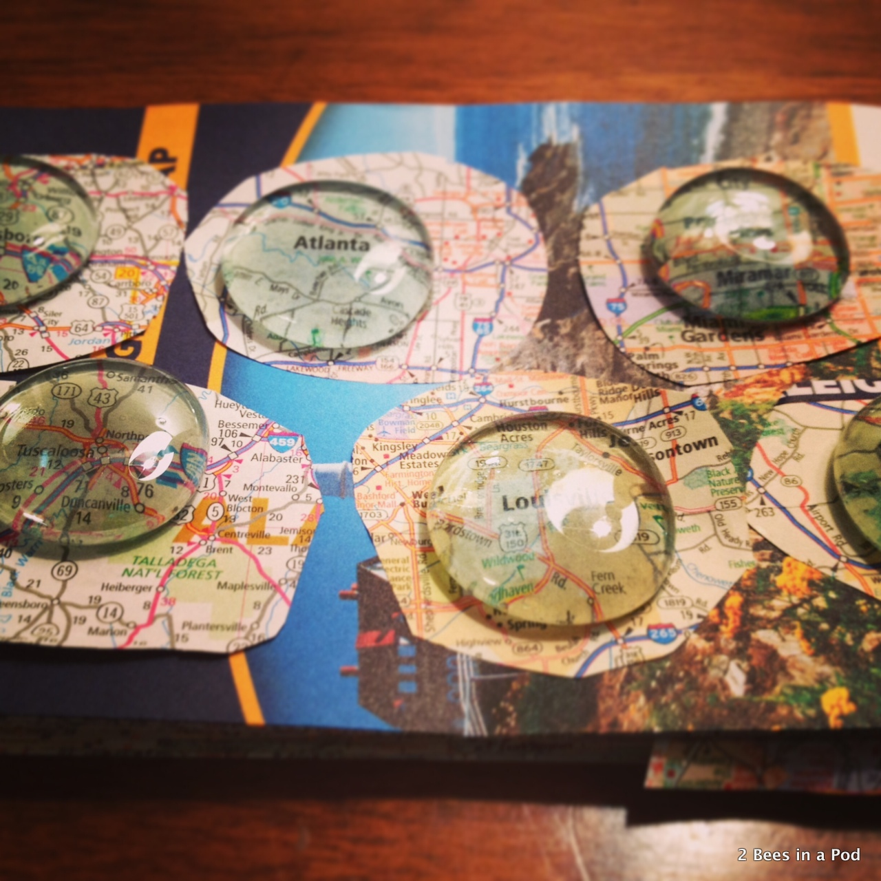 1-Letting the maps & glass beads dry
