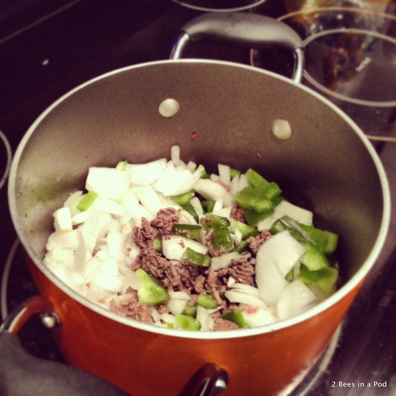 1-Sauteing lean ground beef, onions, green pepper for chili
