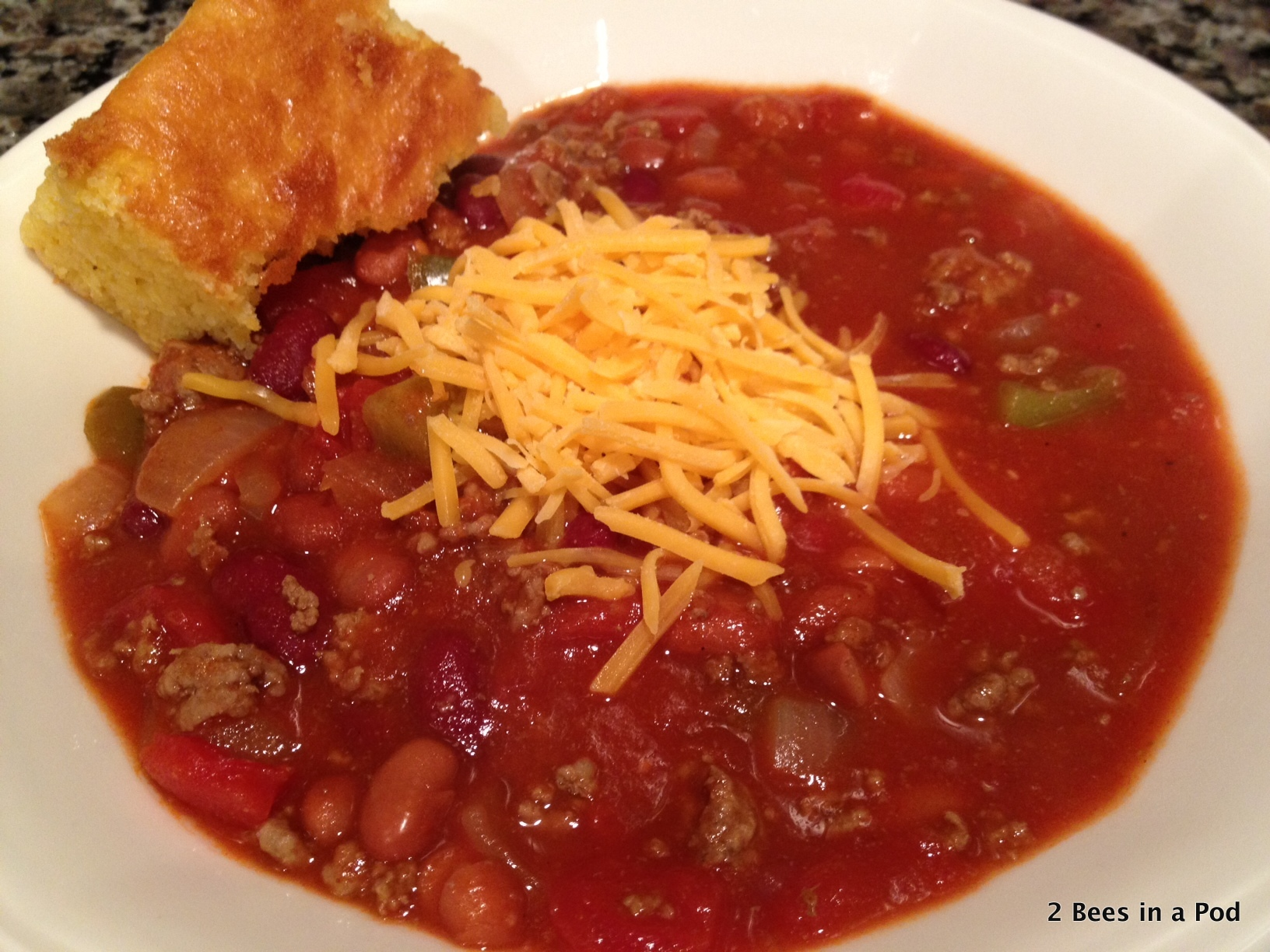 1-Yummy homemade chili with diced tomatoes, lean ground beef, kidney beans, chili beans - Weight Watchers points included