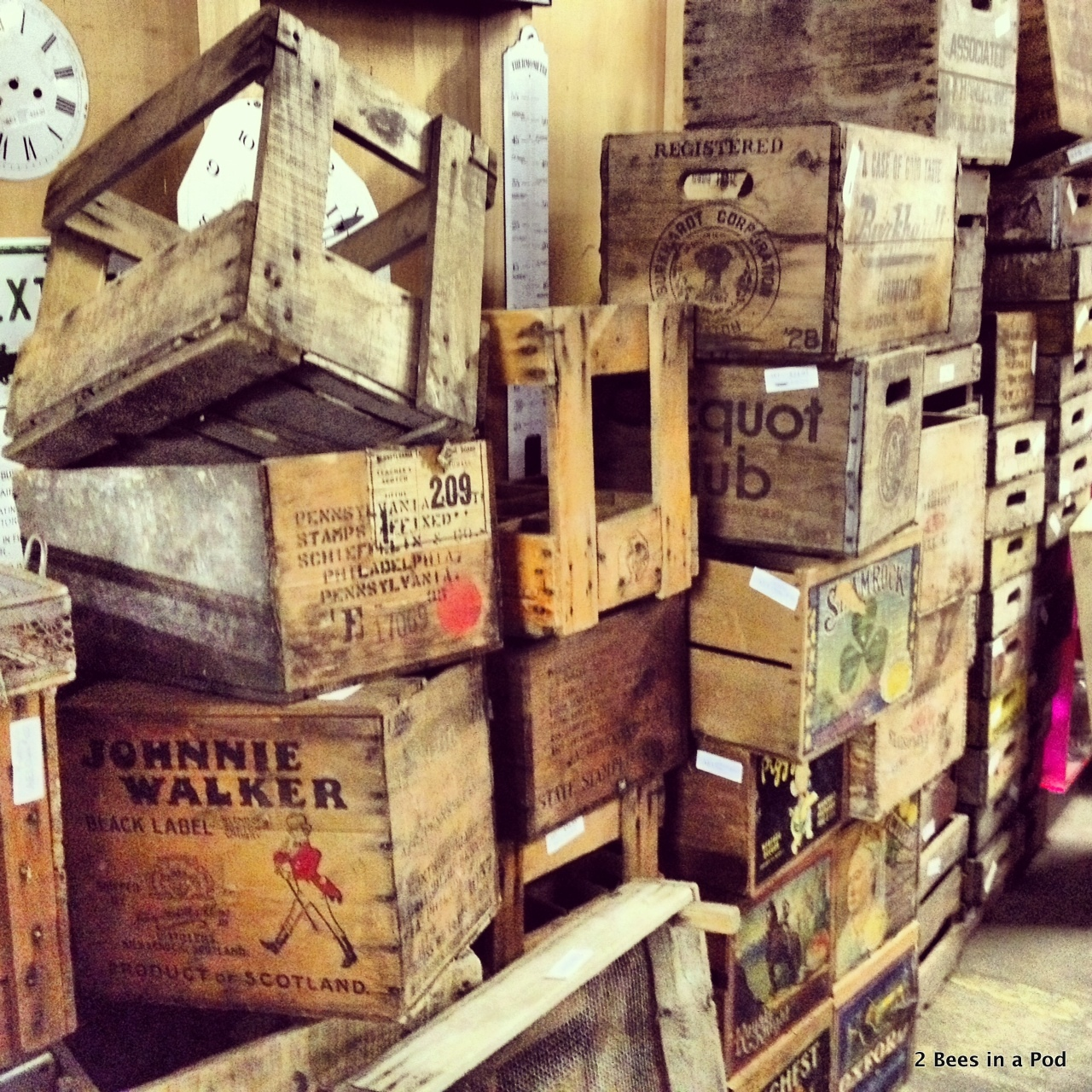 Love all these crates at Tobacco Barn Antiques in Asheville...especially the Johnnie Walker box.