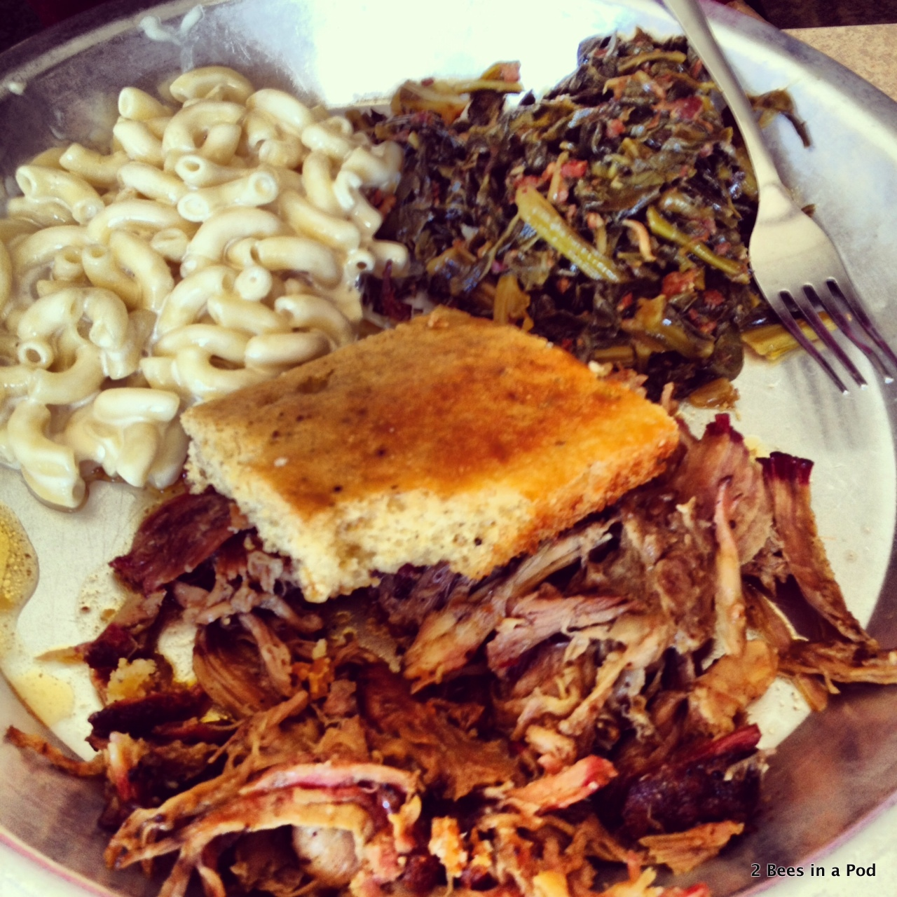 Such great barbeque at 12 Bones in Asheville...mac & cheese, corn bread, collards, and pulled pork