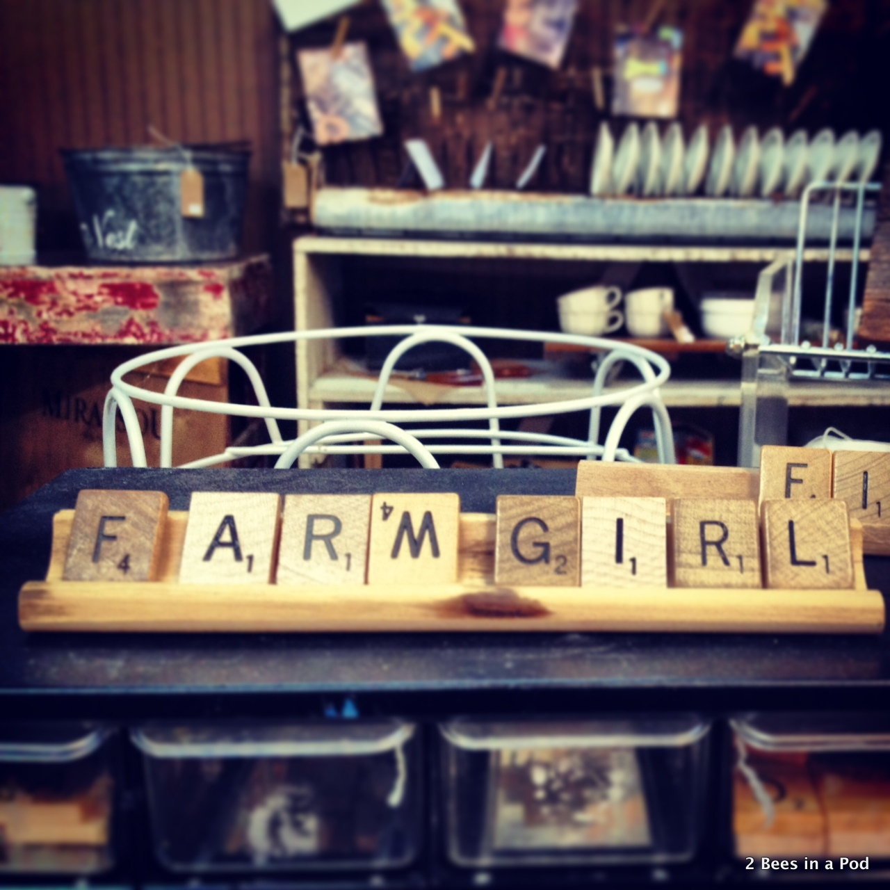 Cute scrabble pieces at Screen Door in Asheville