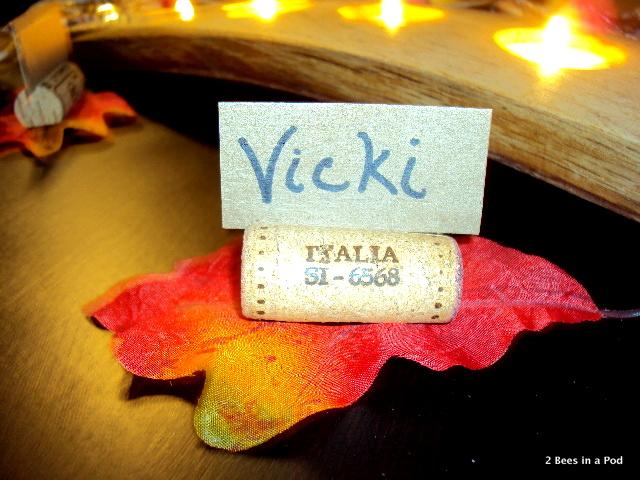DIY cork namecard holder for fall tablescape