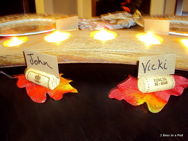 DIY cork namecard holder for fall tablescape
