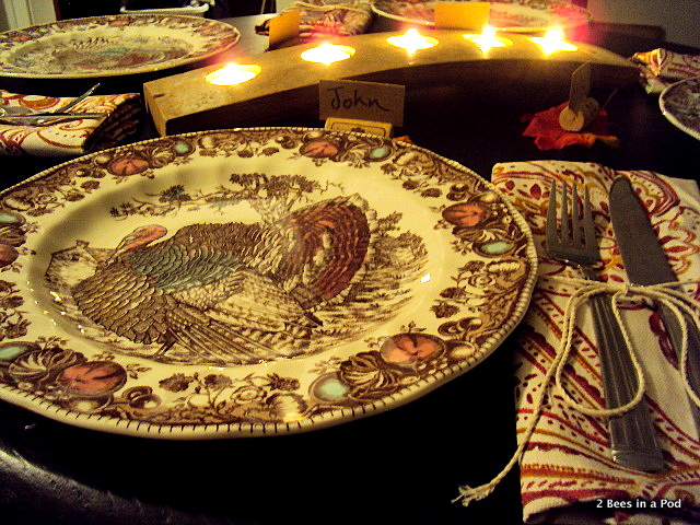 Fall table setting with turkey plates from Replacements, Cynthia Rowley napkins, twine, and DIY cork name place