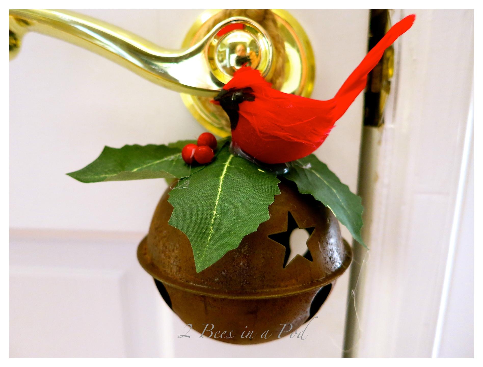 Jingle Bell Door Hanger 2 Bees In A Pod