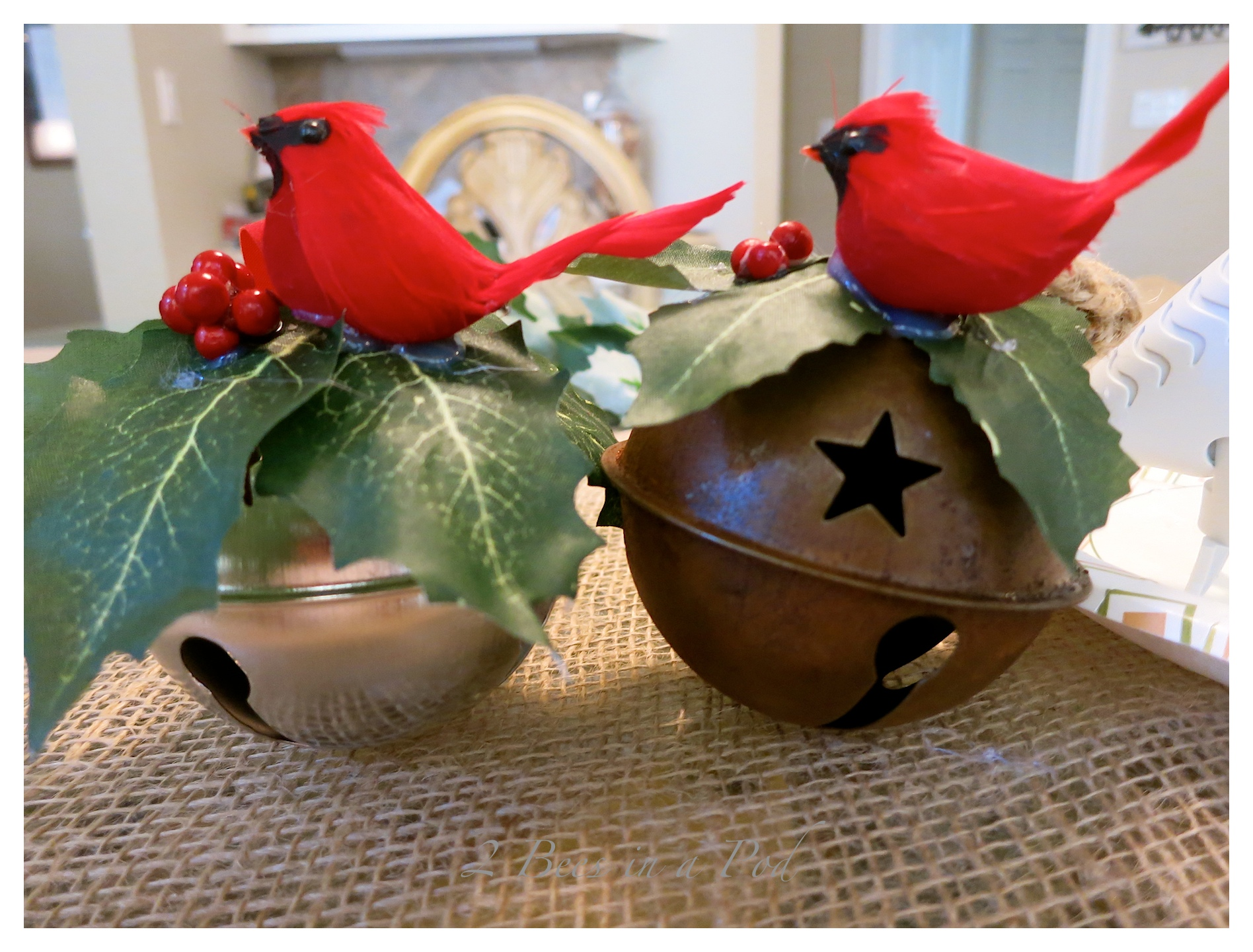 An easy to make Jingle Bell Door hanger - makes an excellent hostess gift!