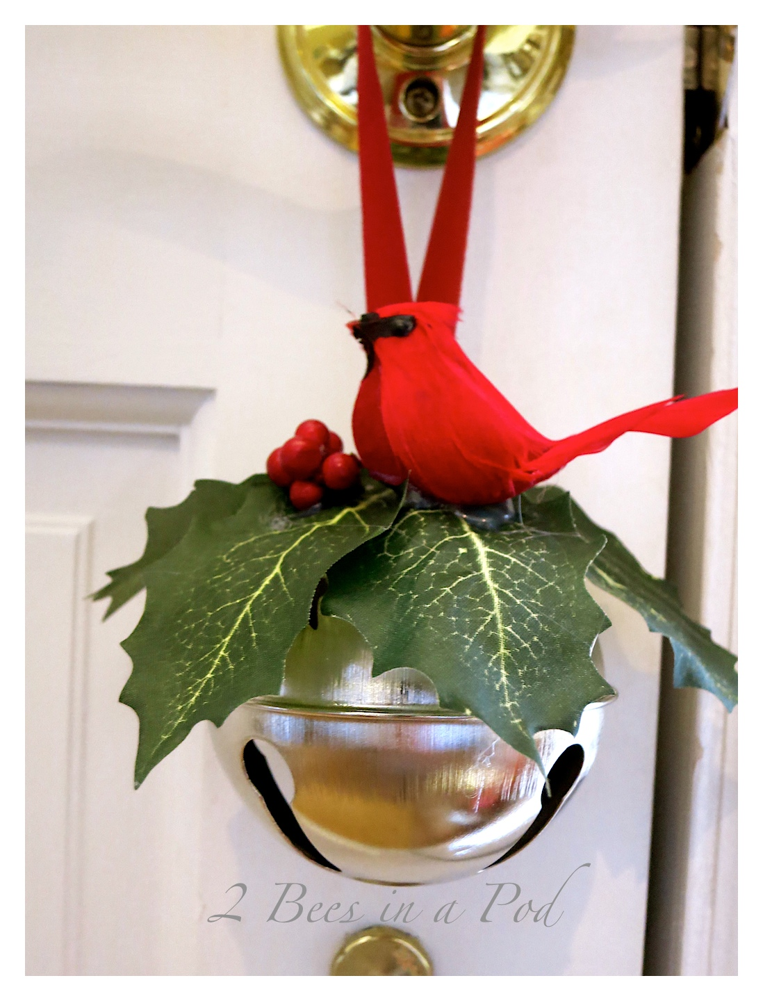 An easy to make Jingle Bell Door hanger - makes an excellent hostess gift!