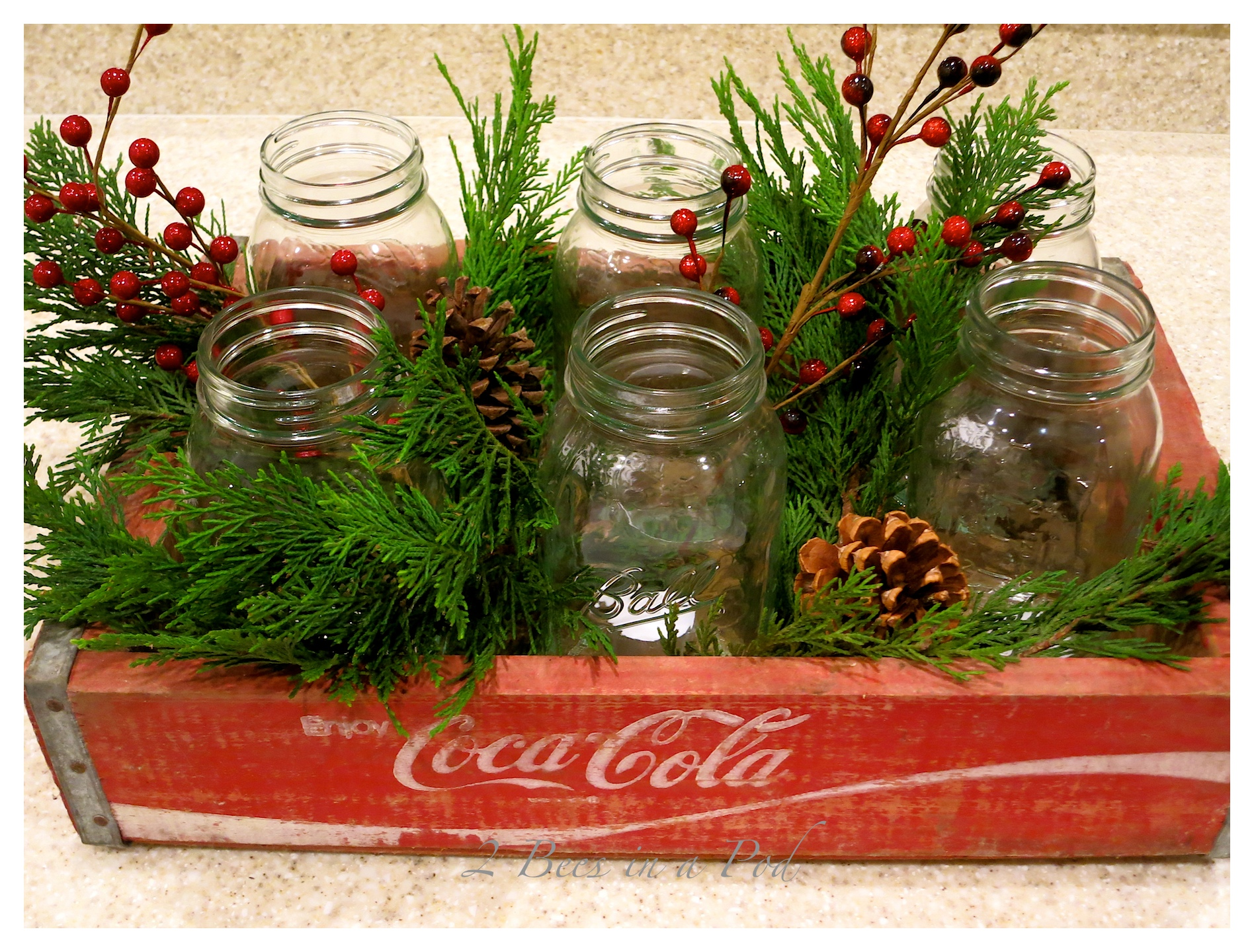 Christmas Coke Crate as a Centerpiece…