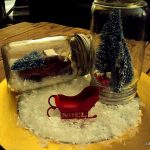 Christmas vignette with mason jars, red vintage truck, noel sleigh, miniature trees, and fake snow...perfect for the coffee table