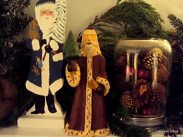 Hand painted Santas and scented pine cones in glass jars for Christmas Mantle