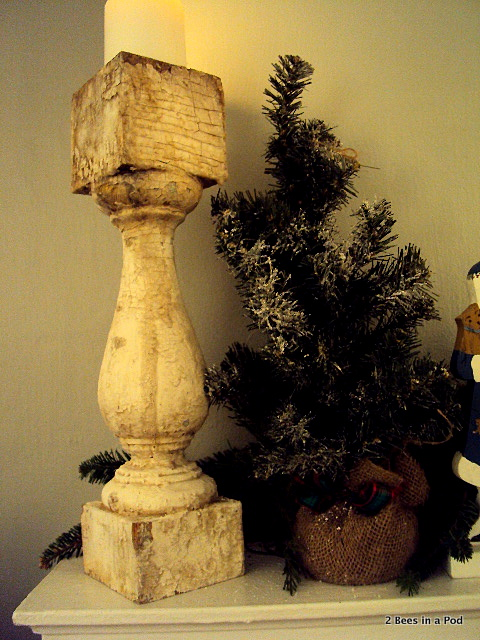 Baluster and Christmas Tree with Burlap for Christmas Mantle