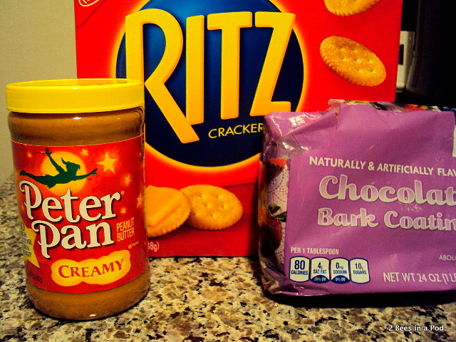Ingredients for Peanut Butter & Choclate Ritz Cracker Cookies