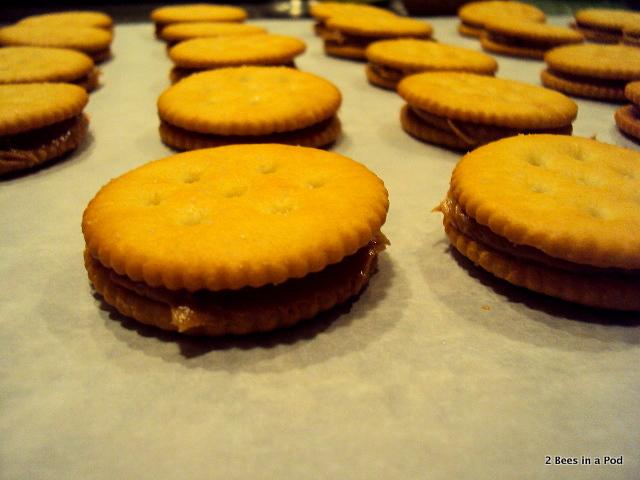 Peanut Butter sandwich for Peanut Butter, Chocolate & Ritz Cracker Cookies