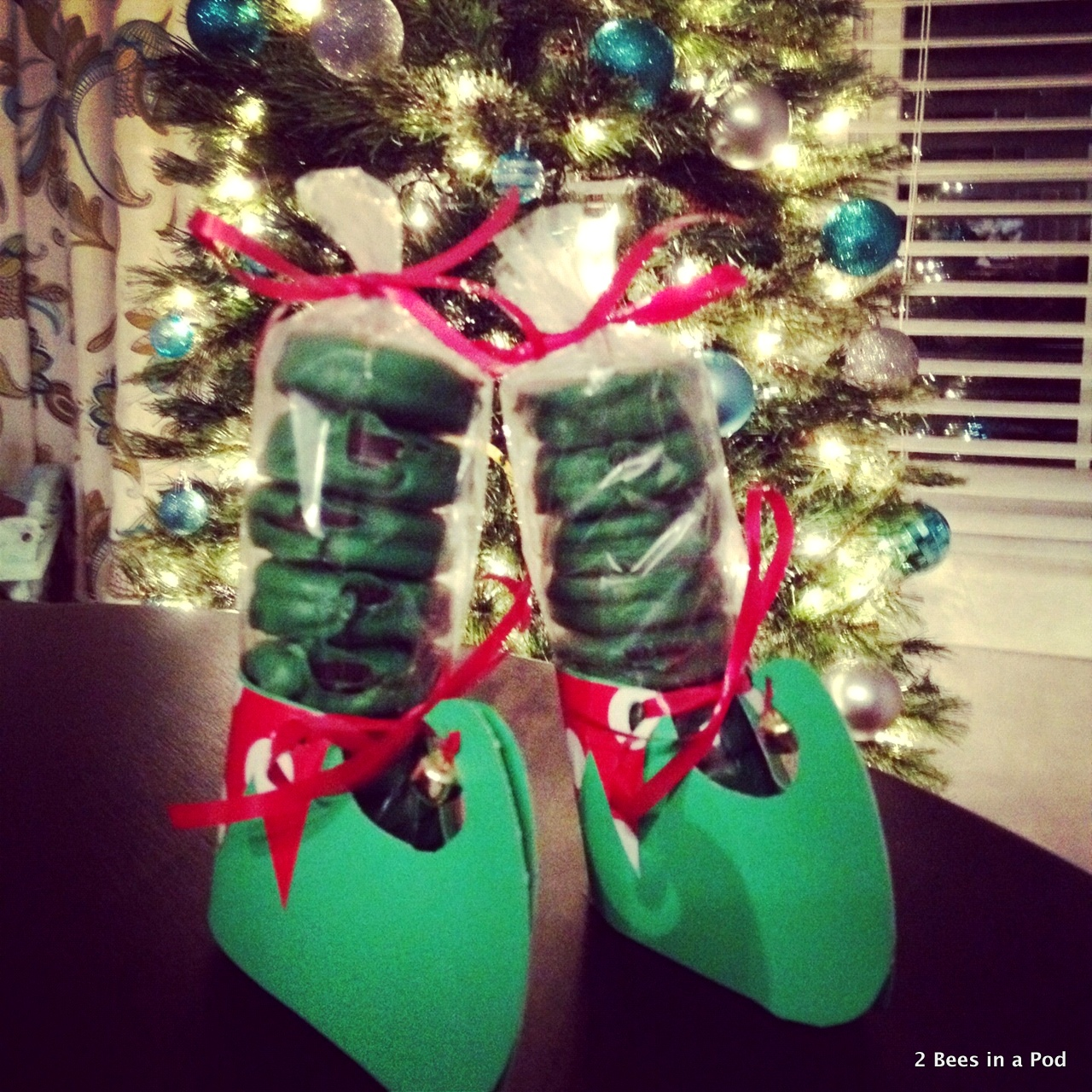Homemade Mint Oreos with cute elf feet...perfect gift for family, friends, & co-workers