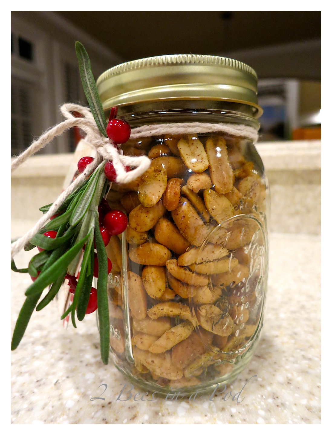 Peppery Peanuts...all bottled up in Mason jars ready to give as Christmas gifts.