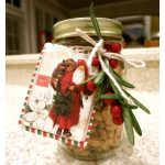We packaged our Peppery Peanuts in Mason jars and decorated with a cute Christmas Santa tag, fresh rosemary, twine and berries.