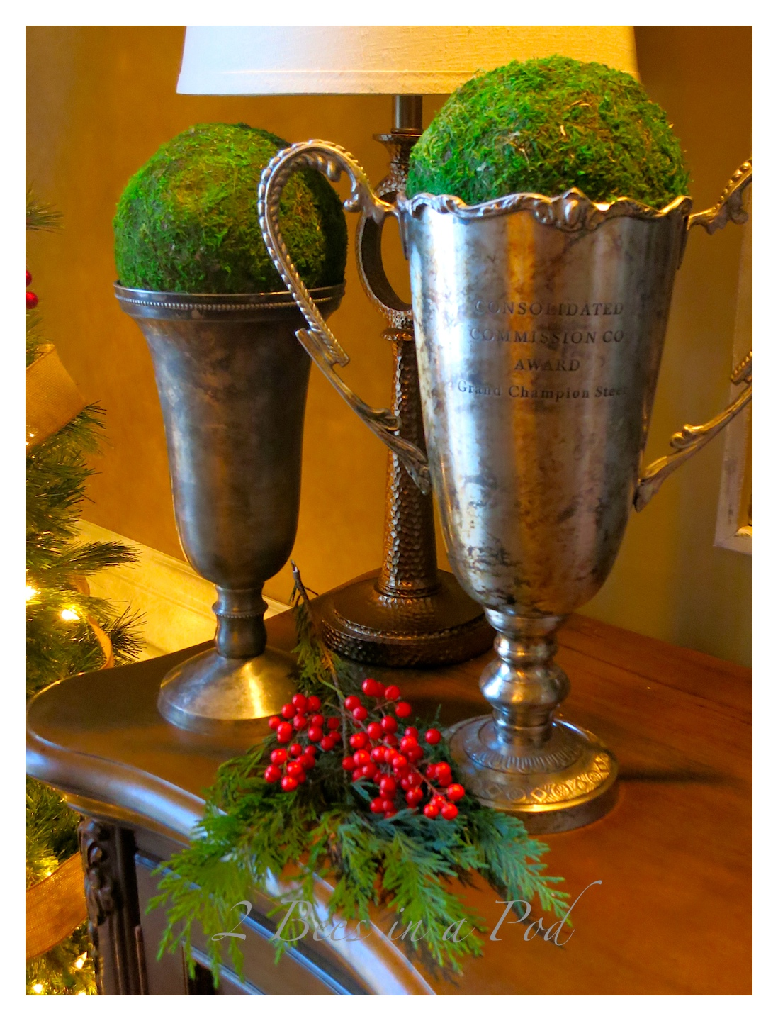 I really like the vintage trophies - their patina is great.Rustic Christmas - I love the crusty, rusty, chippy and warmth that rustic elements bring to my home for Christmas!