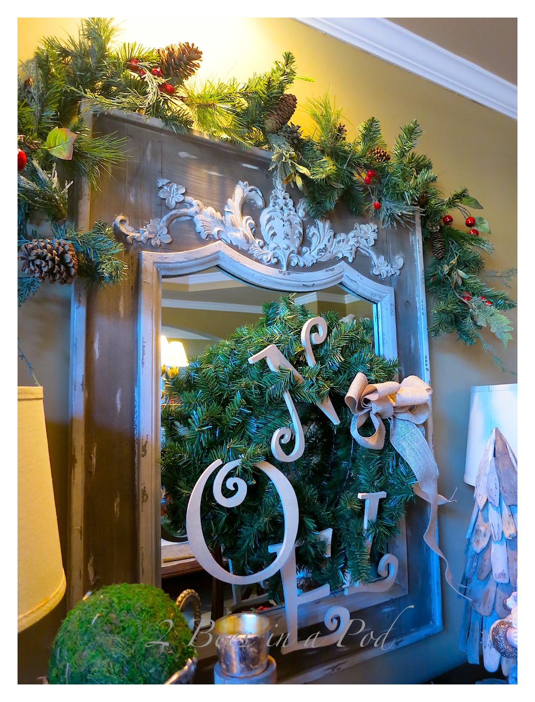 """IThis year I made the """"NOEL"""" wreath for our dining room mirror.Rustic Christmas - I love the crusty, rusty, chippy and warmth that rustic elements bring to my home for Christmas!"""