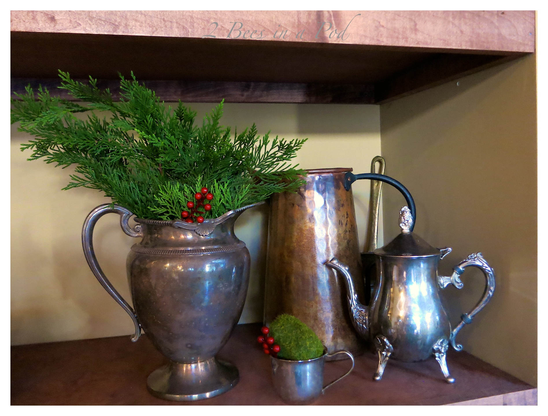 IRustic Christmas - I love the crusty, rusty, chippy and warmth that rustic elements bring to my home for Christmas! I have a collection of old metal pitchers.